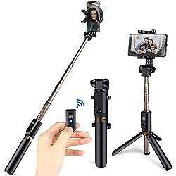 HOMVILLA Perche Selfie Bluetooth, Selfie Stick Trépied Monopode avec Télécommande Rechargeable, Bâton Réglable Télescopique avec Support Téléphone pour Smartphones Jusqu'à 3,5-6 Pouces