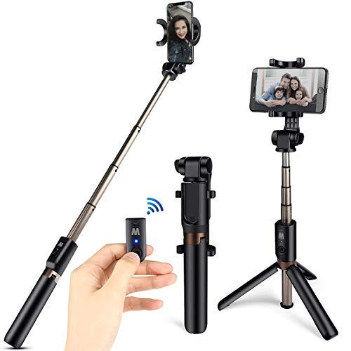 HOMVILLA Bastone Selfie Tripode con Telecomando, 3 in 1 Bluetooth Estensibile per Monopiede Selfie Stick Rotazione a 360 ° per iPhone XR / 8 Plus/Samsung Galaxy Fino a telefoni da 3,5-6 Pollici