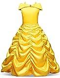 NNJXD Niñas Vestido Largo De Fiesta De Cosplay Disfraz De Carnaval para Princesa Tamaño (150) 7-8 años Amarillo