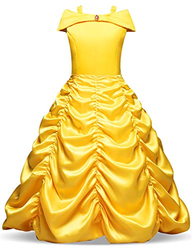 NNJXD Princesse Belle Robe Filles Halloween Cosplay Fancy Dress up Robe Carnaval Hors Épaule Taille (130) 5-6 Ans Jaune
