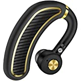 Xmate Edge Bluetooth v5.0 Headset with MIC for Hi-Fi Music and Calls, in-Ear Headset Designed for Sports, Gym, Travel and Driving for All Smartphones (Black/Gold)
