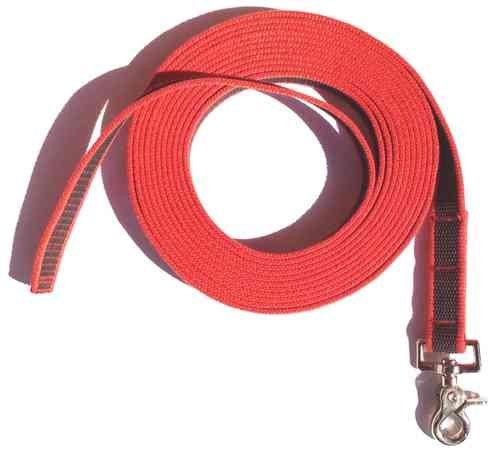 DOGS and MORE - Gummierte Schleppleine MIT oder OHNE Handschlaufe => 5 ODER 10 Meter in Rot (5 Meter OHNE Handschlaufe)