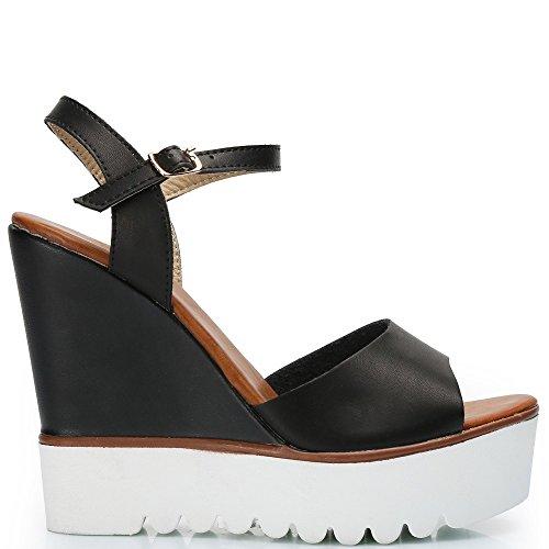 Ideal Shoes–kompensiert Sandale Kunstleder mit Sohle aus Radierer Fanya Schwarz - Schwarz