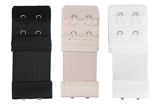 Bra Extender 2-Hook-2-EYE (With Elastic) Color- White, Nude & Black  available at amazon for Rs.249