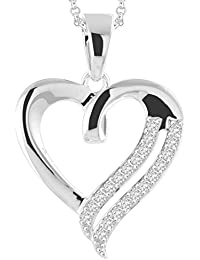 "Peora Art Of Love CZ Pendant In 925 Sterling Silver Rhodium Finish For Women With FREE 18"" Chain"