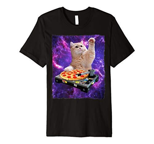 Pizza EDM Music Cute White Kitty Tee ()