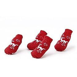 Calcetines de Perro Gato Non-Slip Dog Caliente Sock Navidad Reno Print Garra Rojo S