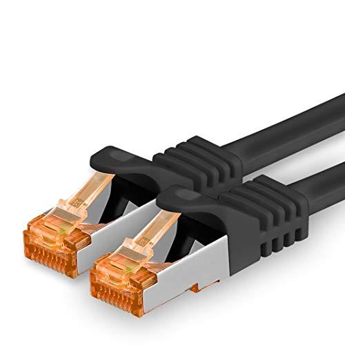 1aTTack.de 3m - Cat.7 Netzwerkkabel Schwarz - 1 Stück Gigabit Ethernet LAN Kabel 10000 Mbit s Patchkabel Cat7 Kabel S FTP PIMF Schirmung LSZH Cat.7 Rohkabel Rj45 Stecker Cat 6a - 1 x 3 Meter