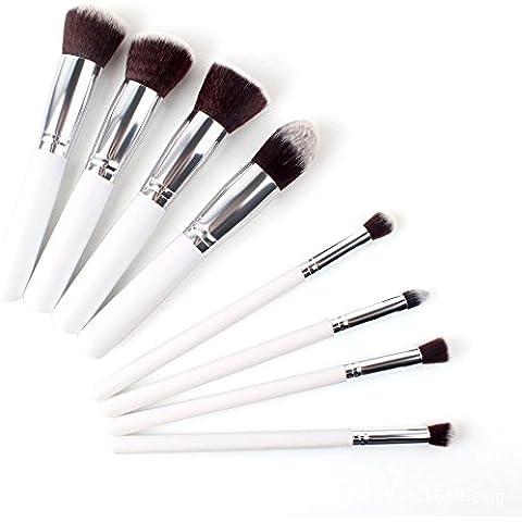 GAOMEI -8 manico bianco argento tubo trucco trucco pennello trucco set set di spazzole