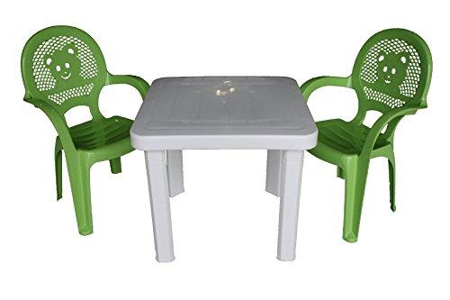 Resol Kinder Set aus Gartenstühlen & Gartentisch – Kunststoff – Grüne Stühle, weißer Tisch – Kindermöbel (2 Stühle & 1 Tisch)