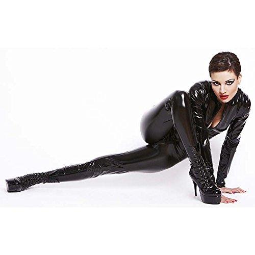 Top Totty reizvolle schwarze PVC Clubwear Catsuit mit Kapuze (X-Large) (Pvc Catsuit)
