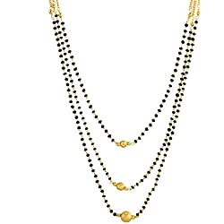 Zeneme Gold American Diamond Mangalsutra Pendant With Chain For Women
