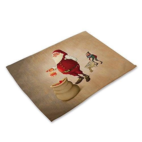 LoveLeiter Weihnachten Tischset Matte Dekoration Home Party Weihnachten Esstisch Cartoon Tischdecke Antibakteriell SchüSsel Gabel Restaurant Rutschfeste Dinner KüChe Platzdeckchen(A) (Gefütterte Braune Jersey)