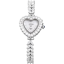 LONGBO Womens Fashion Stainless Steel & Rhinestone Band Bangle Watch Silver Loving Heart Case Bracelet Wrist Dress Watches Lady Rhinestone Crystal Analog Quartz Wedding Watches