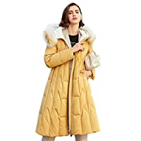 Mid-Length Dames Padded Down Jacket, Slim-Fit Jacket Hooded Classic gewatteerde Bekleed met bontkraag Winter Warm Commuter Professionele Zipper Outdoor Down Jacket Puffer Jacket,Yellow,XL
