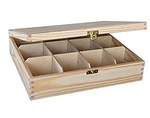 Grande Boîte à Thé en Bois Naturel 12 Compartiments Découpage Artisanat Craft