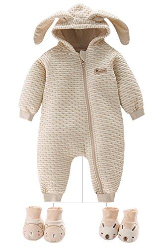 Poliking Neugeborene Unisex Baby Winter Natürliche Bio Baumwolle Weiche, warme, Bio Baumwolle Kapuzenpuppe Anzug und Kleinkind Schuhe (Beige) (Süße Tier Kostüme Für Paare)
