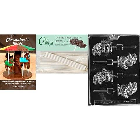 Cybrtrayd 45St50Bk-Cappello con E403 'Duck Lolly'Stampini pasquali di cioccolato, 4,5 cm, con cavo da 50 bastoncini per lecca-lecca e Chocolatier s Guide - Cappello Chocolate Mold