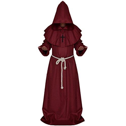 MagiDeal Mönch Kostüm Rot für Herren | 2-teiliges Priester Kostüm Robe | Mittelalter Faschingskostüm für Männer | Mönchkostüm für Karneval - XL
