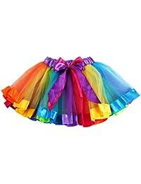 zolimx Color del arco iris de niñas ropa de vestido tutú Faldas Bowknot