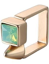 Oro geométrico cuadrado cristal plateado aleación punk anillos de joyería de verano para las mujeres
