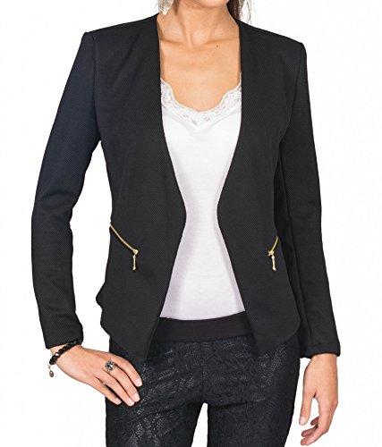 4tuality AO Blazer kragenlos mit Zipper schwarz Gr. S