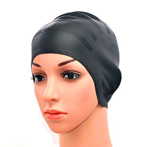 medifier silicona Warterproof gorro con orejeras para Aldult Hombres y Mujeres, negro