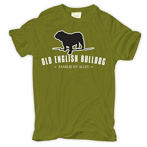 Männer und Herren T-Shirt Old English Bulldog - Familie ist alles Größe S - 8XL Moosgrün