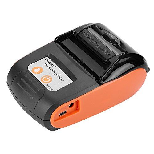 Richer-R Tragbar Mini 58mm POS Drucker, Portable Mini Wireless Bluetooth 58mm High Speed Thermodirektdrucker,Drahtloser Thermodrucker Belegdrucker Kassendrucker für Android IOS Windows(Orange) -