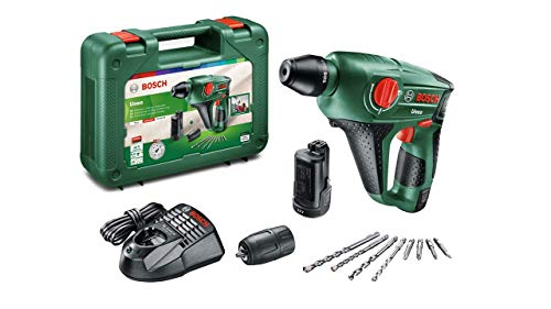 Bosch Uneo battery-powered hammer drill (12 V, 1 battery, charger, additional drill chuck for cylindrical drills, Power for all, SDS system, Charger, 4 tips, Briefcase, 2,5 Ah)