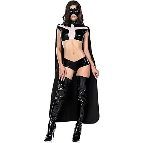 tüm Lackleder PU Set Wetlook Cosplay Oben+Kurze Hose+Mantel+Maske ()