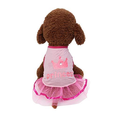 Hawkimin Hunde Pullover xs s New Pet Frühling und Sommer Breathable Elegante Krone Spitze Prinzessin Rock Hund Katze - Kronen Elegante
