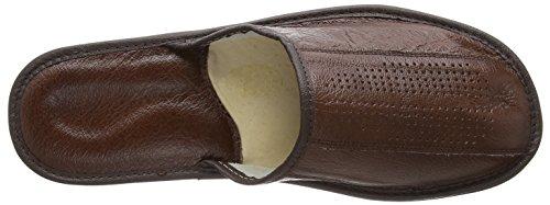 Chaussons pantoufles en cuir véritable pour homme avec semelles orthopédiques ou laine futter. couleurs différentes Marron - Marron foncé