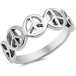 Inscripción Sterling Paz anillo de plata - Tamaño, 19 (18,79 mm)