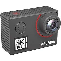 Caméra Sport 4K 60fps AKASO WiFi Télécommande Commande Vocale Ecran Tactile EIS Caméra Sportive Etanche sous Marine Angle Vision Réglable Zoom 8 Fois 2 Batteries 1050mAh Kit d'Accessoires - V50 Elite