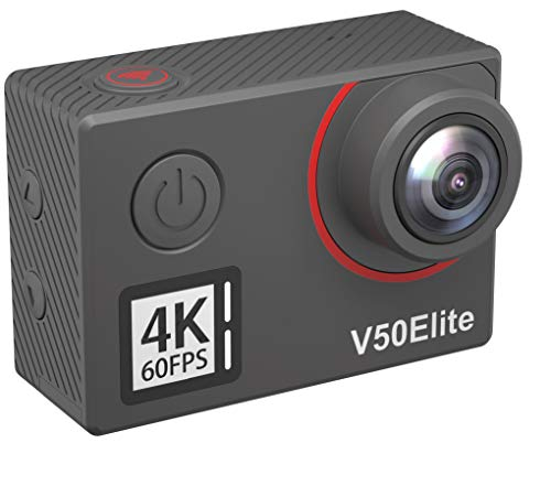 AKASO Action Cam Native 4K/60fps 20MP WiFi,Touch Screen,Comandi Vocali,EIS 40m Impermeabile, 8 Volte Zoom, Angolo Variabile,Telecomando con Batterie 1050mAh x2 (V50 Elite)