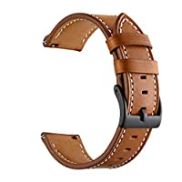 for Garmin vivoactive 3 Watchband Replacement Leather Watch Band Strap(Brown)