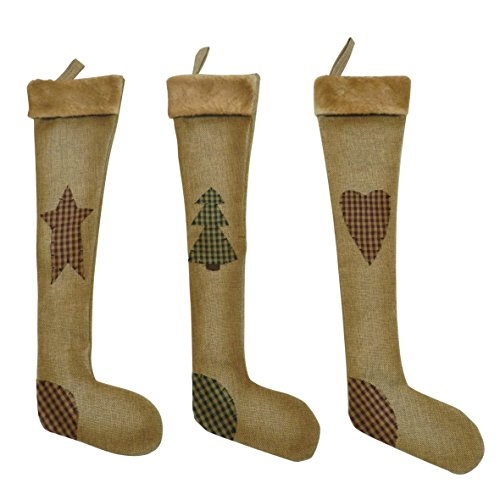 Country Rustic Design 45,7cm Weihnachtsbaum hängen Strümpfe von CVHOMEDECO. Vintage Star, Baum, Herz Weihnachten hängende Dekoration Geschenke, 3 sortiert. (Weihnachten Primitive Dekor)
