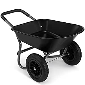 VonHaus 78L Wheelbarrow – Two Wheeled Pneumatic Tyre Heavy Duty Garden Tool/Waste Transportation Cart