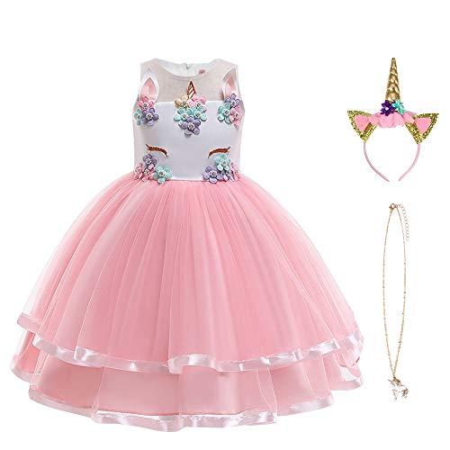 URAQT Robes Fille, Robe Licorne Enfant de Princesse, avec Cosplay pour Le Jupe Rose 150CM
