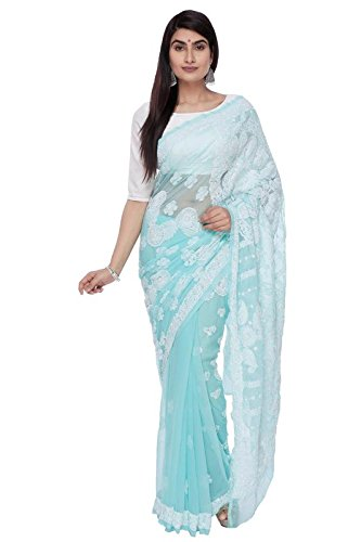 BDS Chikan Hand Embroidered Lucknow Chikankari Sea Green Georgette Saree with Blouse...