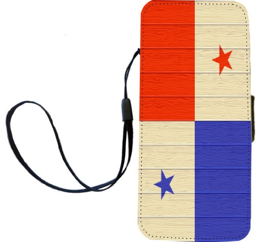 Rikki Knight Panama Flagge auf Distressed Holz Flip Wallet iphonecase mit Magnet Klappe für iPhone 5/5S - Panama Flagge auf Distressed Holz -
