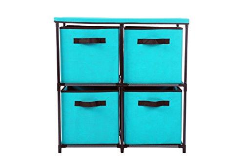 Home-Like 4-Schubladen-Aufbewahrungsbox Organizer-Einheit Stoff-Schrank Ideal zum Speichern von Kleidung Unterwäsche Jeans Dokumente Bücher Türme 63.5 × 33.5 × 66cm (4 Schublade-Türkis) -