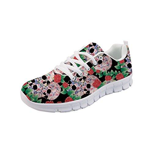 Casual Athletic Sneakers Zucker Floral Schädel Vintage Tennis Jogging Laufschuhe-Größe: EU 44 ()