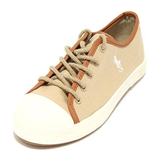 3576F sneaker POLO RALPH LAUREN CHILD KHAKI FERGUSON TELA scarpa bimbo bimba boo Beige