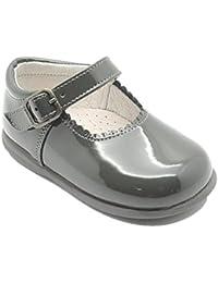 Caminito 1E098 - Zapato en charol con suela de goma para niña, color gris.