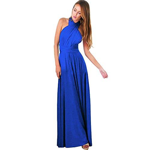 Weant abiti donna, abito vestito donna gonna lunga elegante abito chiffon scollo v estate veste cocktail vestito senza maniche beach party vestito lungo abiti lunghi abito sera (xblu, s)