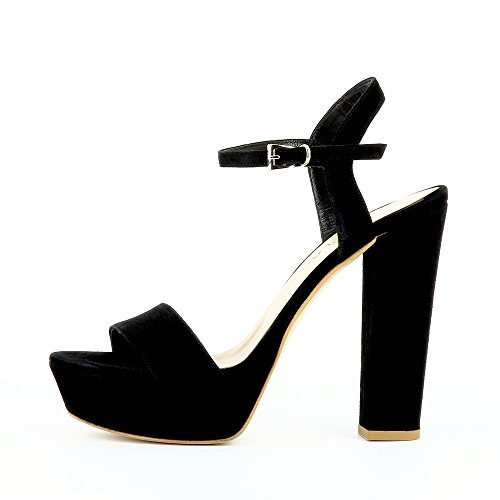 STEFANIA sandales femme daim Noir