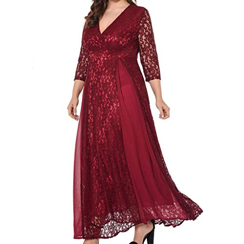 MAYOGO Spitze Cocktail Kleider Damen Elegant Große Größen 3/4 Ärmel Lang Maxikleid Rockabilly Festliche Hochzeit Kleider Für Damen Oversize ()