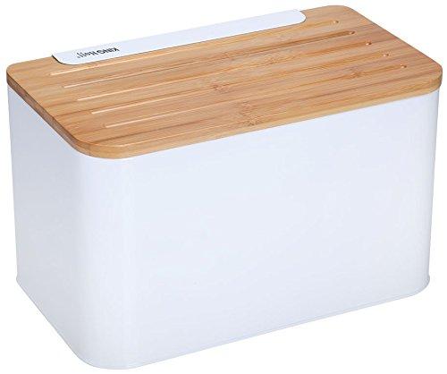 Elegant Tendance Boîte à pain avec holzabdeckung (Planche à découper) (Blanc)